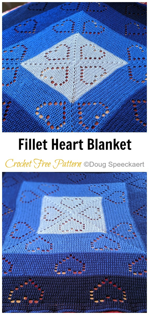 Fillet Heart Square Lace Blanket Crochet Free Pattern - #Coração;  #Cobertor;  #Crochet Free Patterns