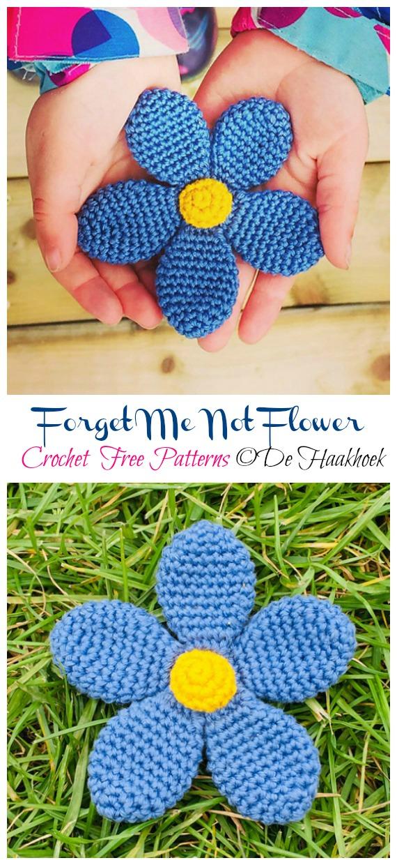 Easy Forget Me Not Flower Crochet Free Patterns -Fácil #Crochet #Flower Appliques Free Patterns