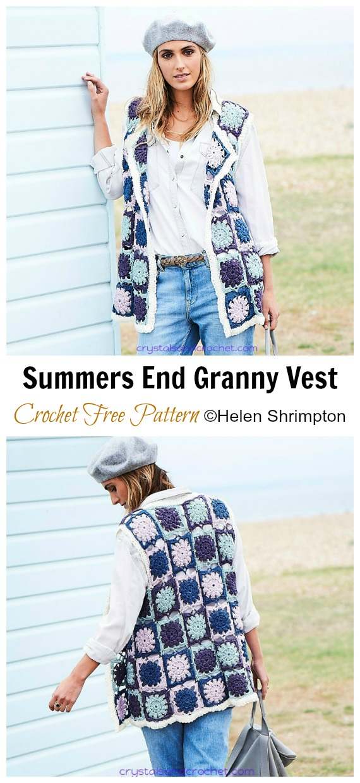 Summers End Granny Vest Padrão de Crochê Grátis - Sweater #Vest;  #Crochê;  Padrões Livres