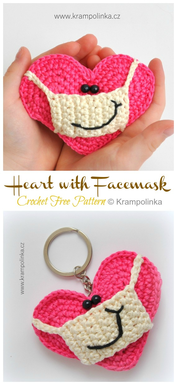 Herz mit Gesichtsmaske Kostenlose Häkelanleitung - #Amigurumi;  3D #Herz;  Kostenlose Häkelanleitungen