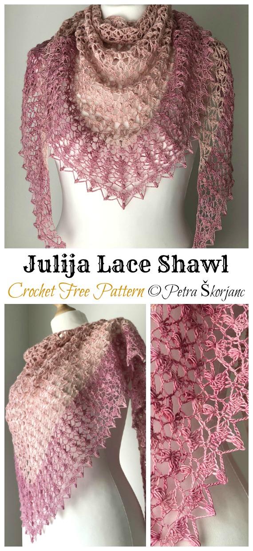 Julija Lace Shawl Crochet Free Pattern - Frauen Spitze #Schal;  Kostenlose #Häkeln;  Muster