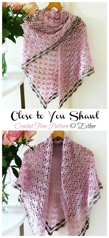 Close to You Shawl Crochet Free Pattern - Frauenspitze #Schal;  Kostenlose #Häkeln;  Muster