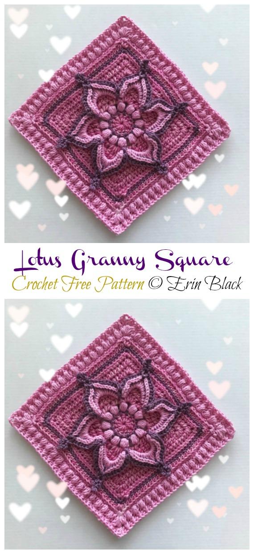 Lotus Granny Square Crochet Free Pattern - #Granny;  Quadrado Livre #Crochet;  Padrões