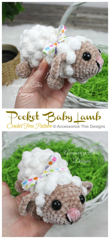 Pocket Baby Lamm häkeln kostenlose Anleitung - Bauernhoftiere Spielzeug #Amigurumi;  Kostenlose Häkelanleitungen
