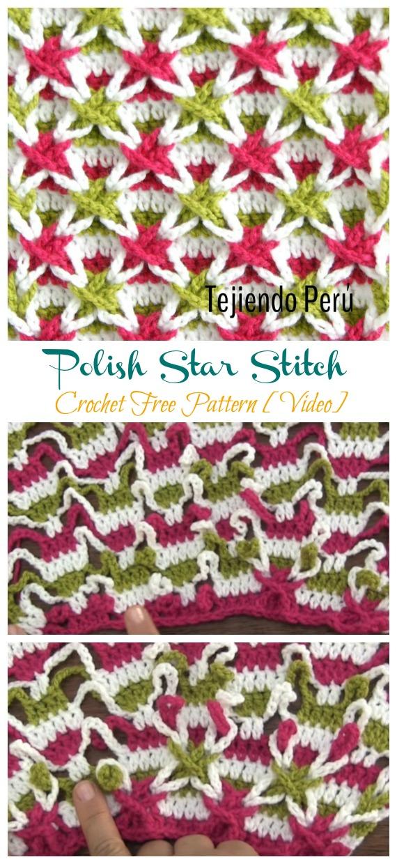Polnische Star Stitch Häkelanleitung kostenlos [Video] - Neuer #Stich;  Kostenlose #Häkeln;  Muster
