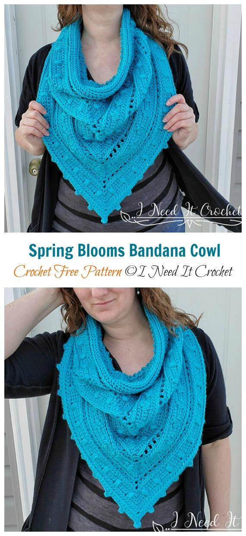 Frühlingsblüten Bandana Cowl Crochet Free Pattern - Frauen #Cowl;  Kostenlose #Häkeln;  Muster