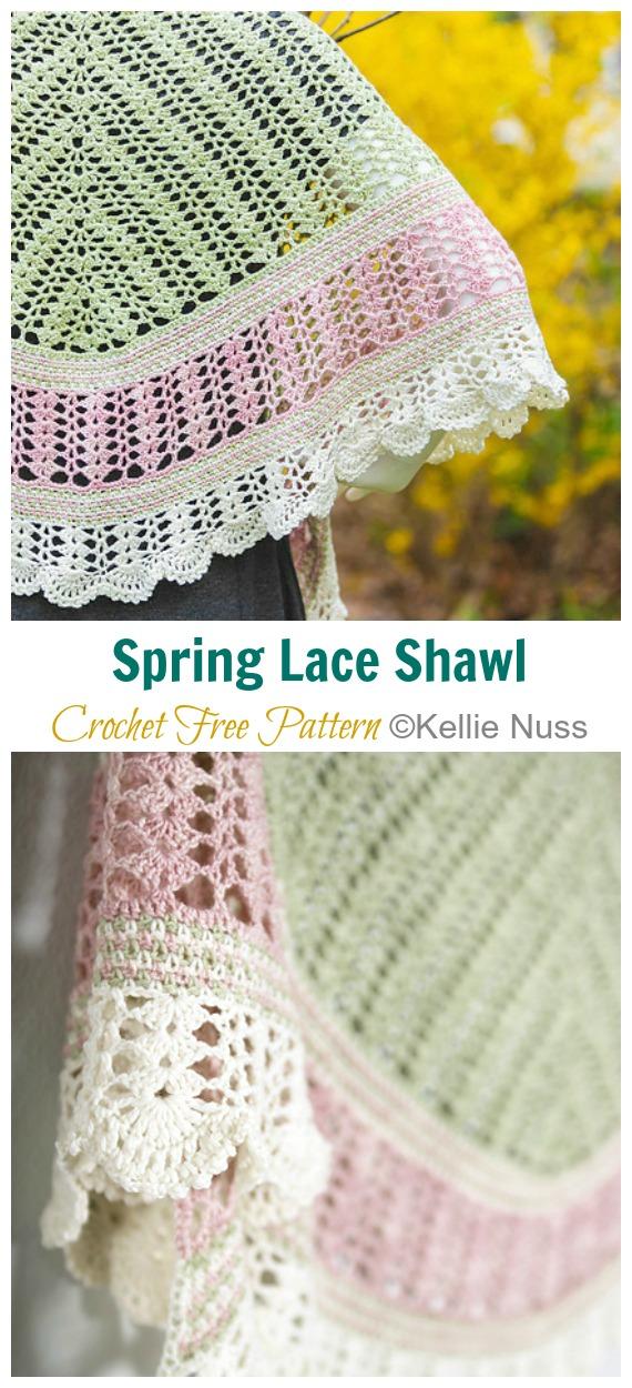 Frühlings-Spitze-Schal häkeln freies Muster - Frauen-Spitze #Schal;  Kostenlose #Häkeln;  Muster