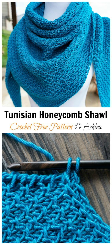 Tunesischer Wabenschal häkeln freies Muster - Frauenspitze #Schal;  Kostenlose #Häkeln;  Muster