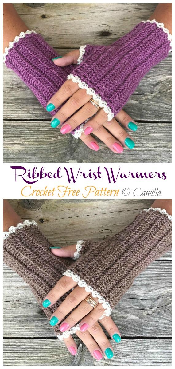 Ribbed Wrist Warmers Crochet Free Pattern - Crochet & Knitting