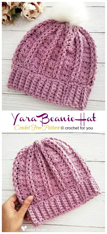 Yara Beanie Hat Crochet Free Pattern - Adult Beanie #Hut;  #Häkeln;  Kostenlose Muster
