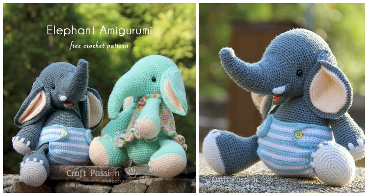 Little Bigfoot Elephant: Free Amigurumi Crochet Pattern - YouTube | 400x750