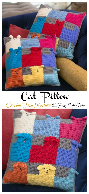 Many Cats square // free crochet pattern | 1240x570