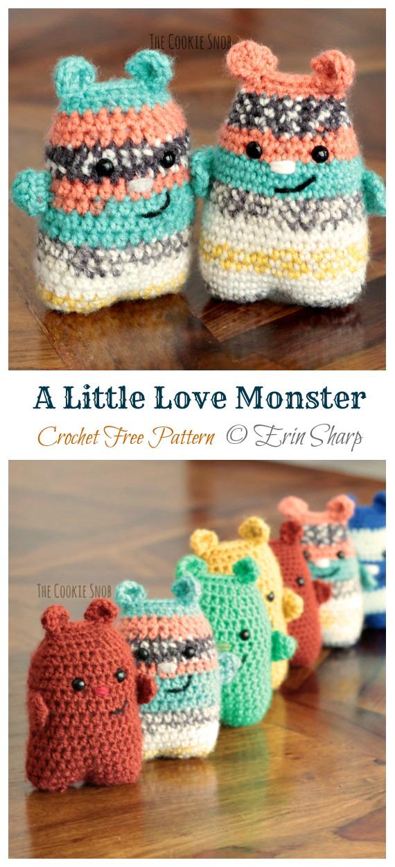 A Little Love Monster Crochet Free Pattern - Monster Doll #Amigurumi;  Ücretsiz Tığ Desenleri