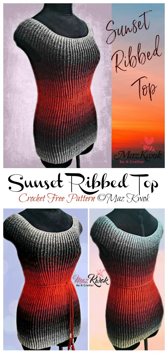 Sunset Ribbed Top Crochet Free Pattern - Femmes Summer #Top Free #Crochet;  Motifs