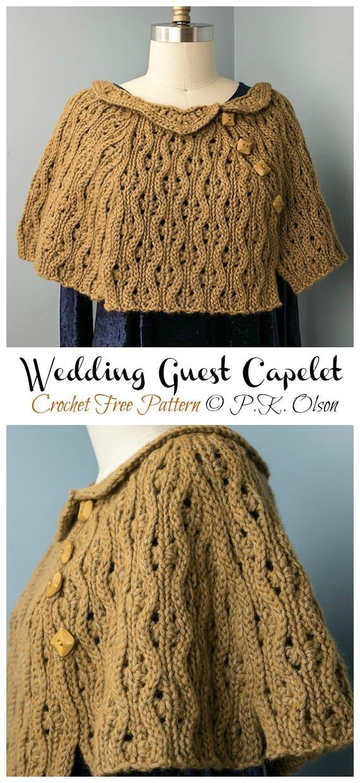 Invité de mariage Capelet Crochet Free Pattern - Femmes #Cape;  #Crochet gratuit;  Motifs