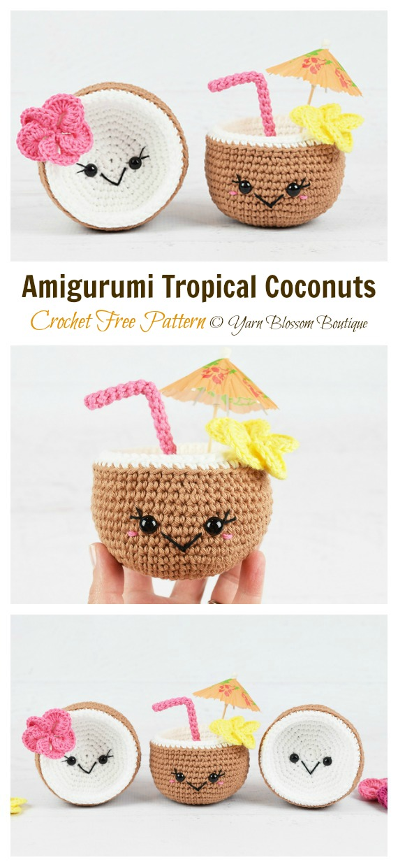 Padrão sem crochê Amigurumi Tropical Coconuts