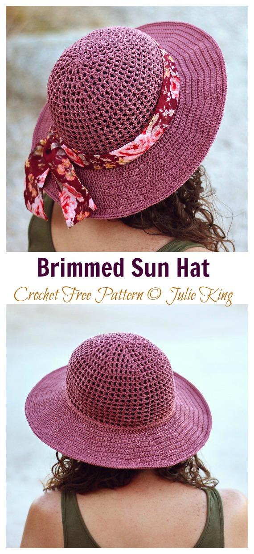 Chapéu de sol com abas de malha padrão sem crochê - Mulheres / Meninas # Sunhat;  Grátis #Crochet;  Padrões