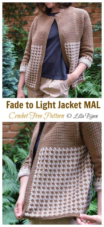 Jaqueta Fade to Light Crochet Free Pattern- Mulheres #Jacket;  Grátis #Crochet;  Padrões