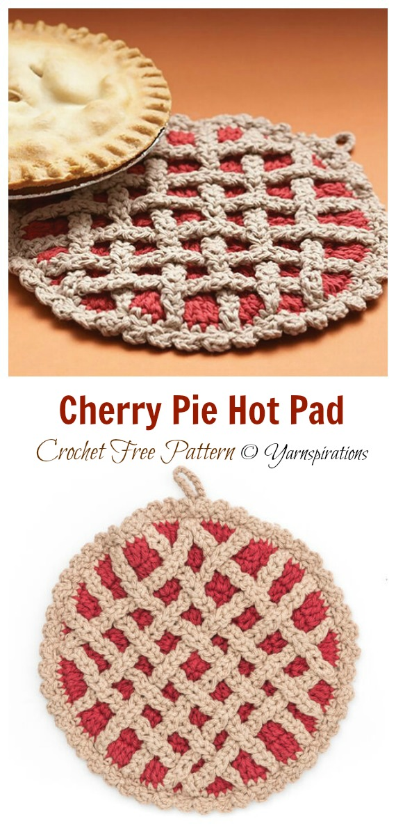 Torta de cereja Hot Pad Crochet Padrão Grátis # Cozinha