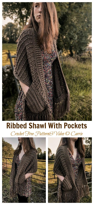 Xale com nervuras com bolsos e padrão sem crochê [Video] - Retângulo Longo #Shawl;  Grátis #Crochet;  Padrão