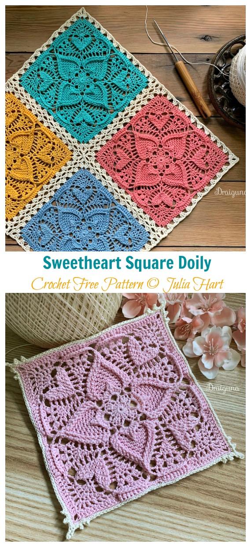 Sweetheart Square Doily Crochet Free Pattern - Decorativo #Doily;  Grátis #Crochet;  Padrões