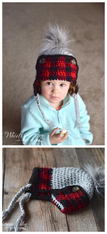 Chapéu xadrez para criança com padrão livre de crochê