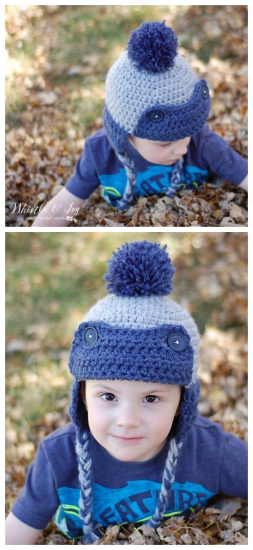 Chapéu para criança esquimó caçador de crochê sem costura padrão