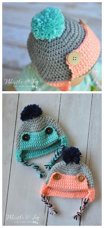Chapéu de crochê para bebês / crianças pequenas padrão sem crochê