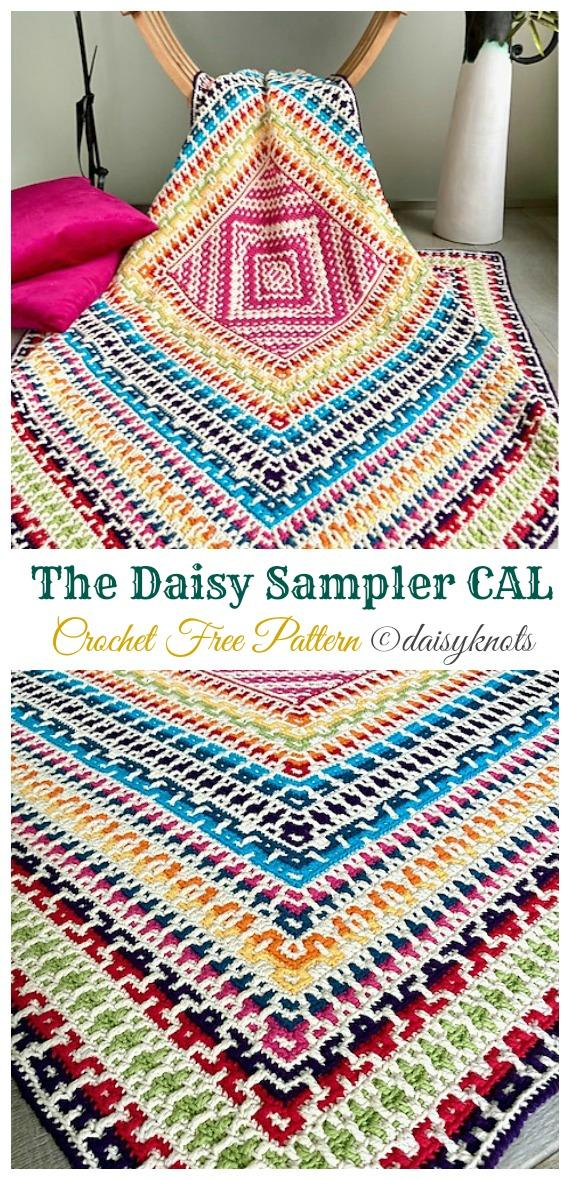 The Daisy Sampler Blanket CAL Crochet Free Pattern - #Mosaic;  Battaniyesiz #Crochet;  Desen