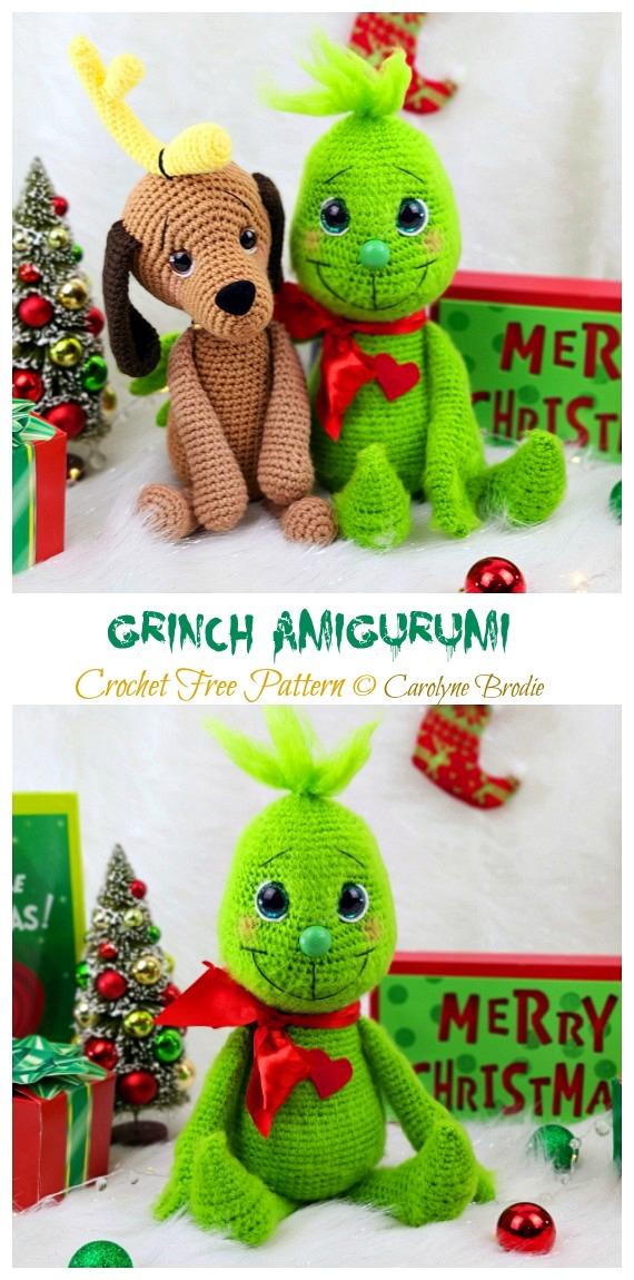 Kostenlose Amigurumi Grinch Häkelanleitungen – #Puppe;  #Amigurumi häkeln;  Kostenloses Muster