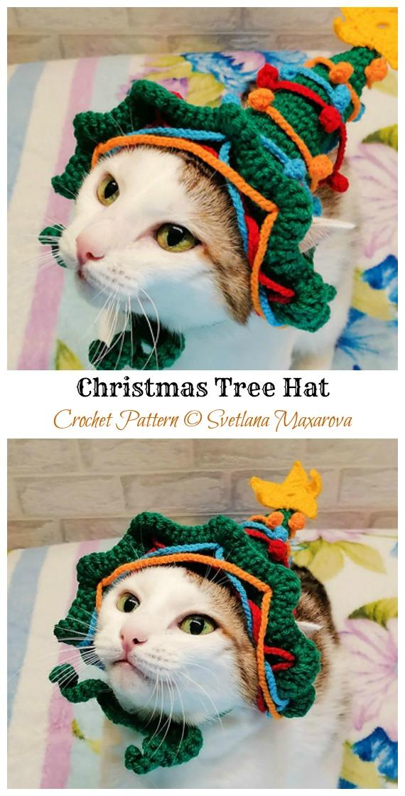 Padrão de Crochê para Chapéu de Árvore de Natal Gato - Chapéu de Animal de Estimação de Natal # Padrões de Crochê