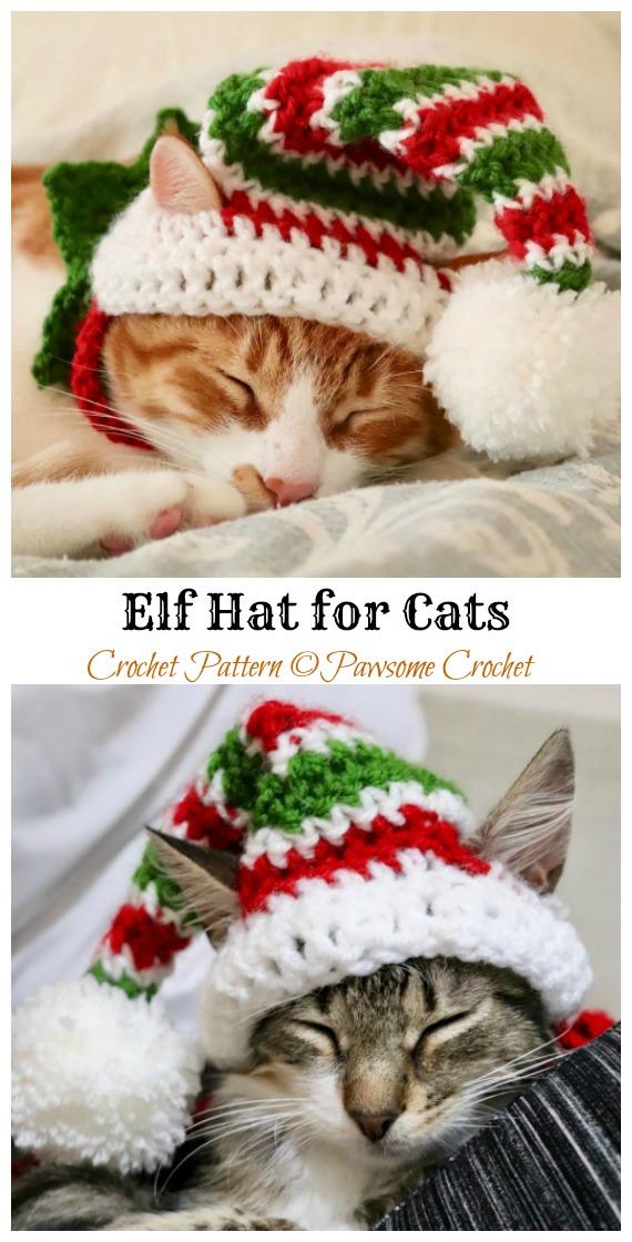 Chapéu de duende para gatos padrão de crochê - Chapéu de animal de estimação de Natal # Padrões de crochê