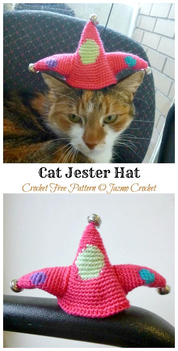 Cat Jester Hat Padrão de Crochê Grátis - Chapéu de Animal de Estimação de Natal # Padrões de Crochê