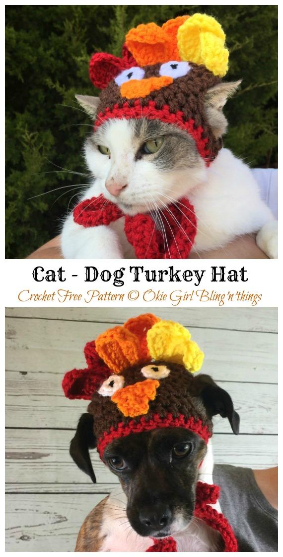 Gato - Padrão de Crochê Grátis com Chapéu de Peru de Cão - Chapéu de Animal de Estimação de Natal # Padrões de Crochê