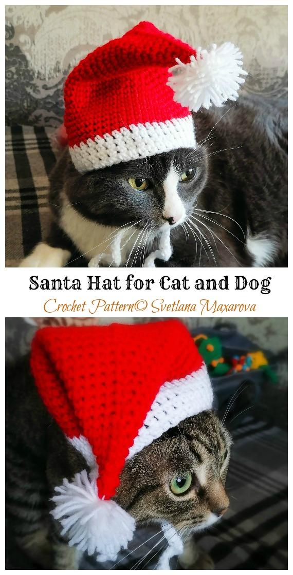 Chapéu de Papai Noel para gato e cachorro padrão de crochê grátis - Chapéu de animal de estimação de Natal # Padrões de crochê