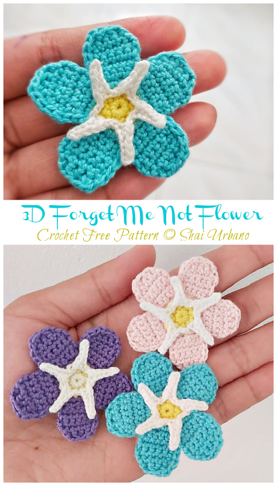 Forget Me Not Flower Crochet Free Patterns -Fácil #Crochet #Flower Appliques Free Patterns