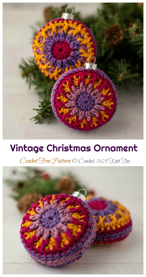 Vintage Christmas Ornament Crochet Free Pattern - Christmas Ornament Free #Crochet;  Padrões