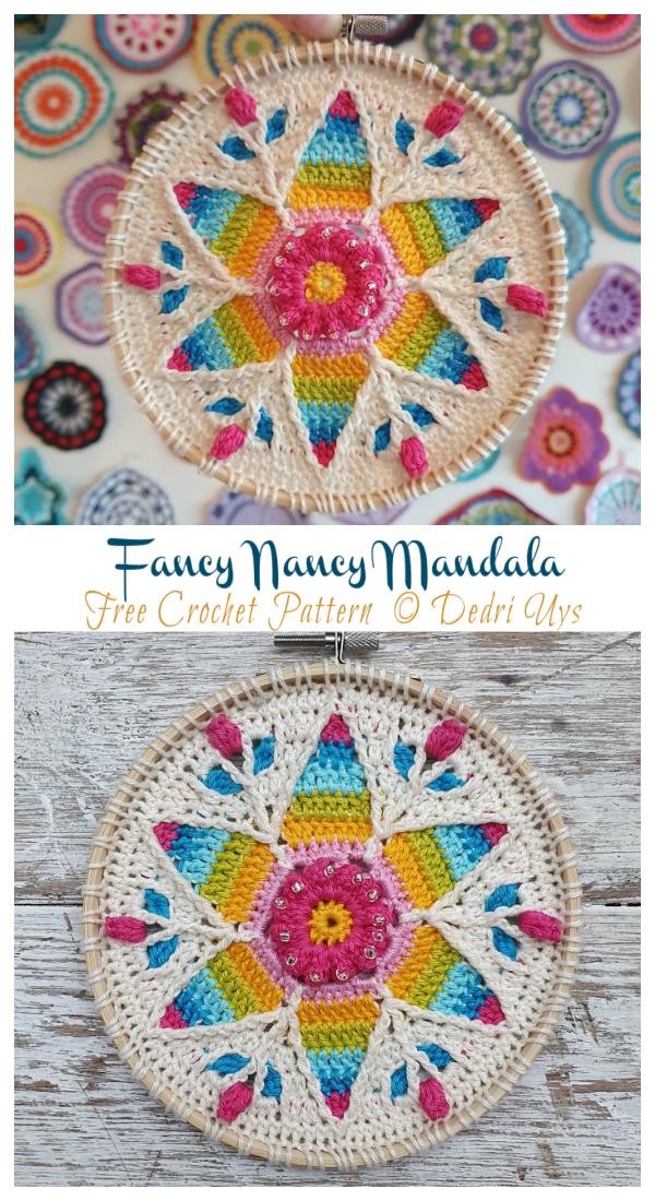 Tulip Flower Fancy Nancy Mandala Free Crochet Patterns - Decorativo #Doily;  Grátis #Crochet;  Padrões