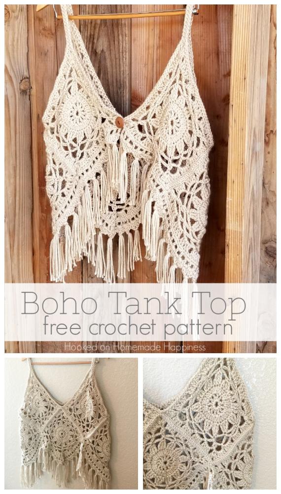 Boho Tank Top Crochet Padrão Grátis - Verão Mulheres #Top Free #Crochet;  Padrões