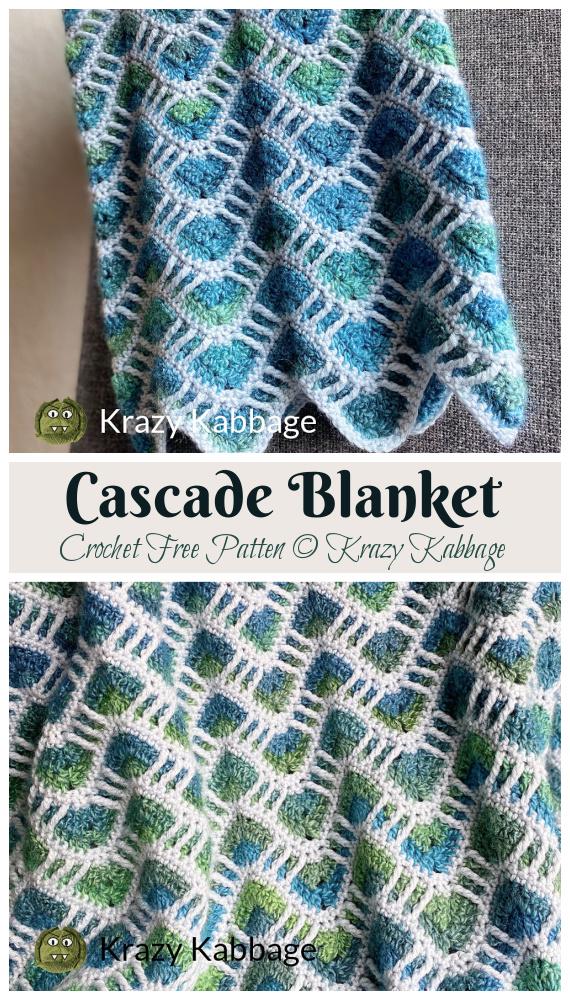 Cascade Blanket Crochet Padrão Grátis - #Crochet;  Ondulação #Blanket;  Padrão de Crochê Grátis