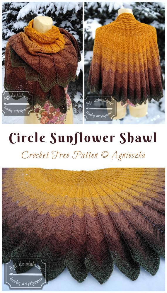 Círculo Girassol Xale Crochet Padrão Grátis - Mulheres na Moda #Shawl;  Grátis #Crochet;  Padrões