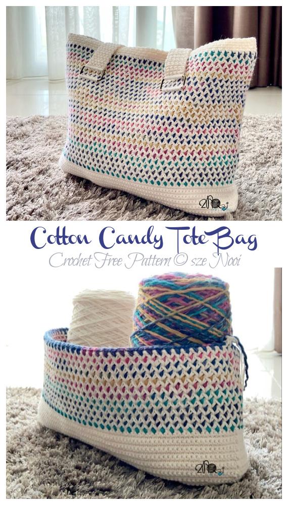 Cotton Candy Tote Bag Häkelfreies Muster - Tote #Bag;  Kostenlose #Häkeln;  Muster