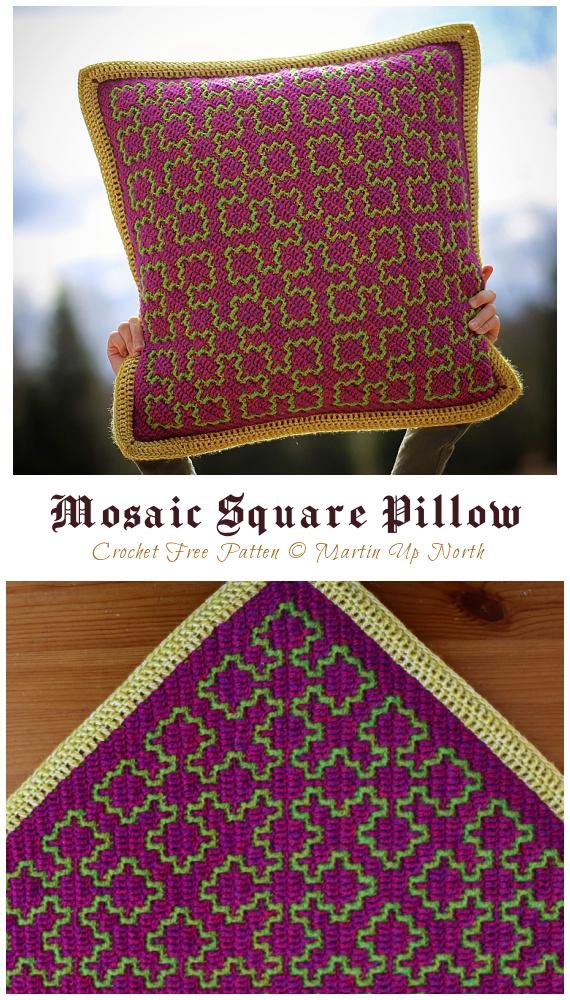 Mosaico Quadrado Travesseiro Crochê Padrão Grátis - #Crochê;  #Pillow decorativo;  Padrões Livres