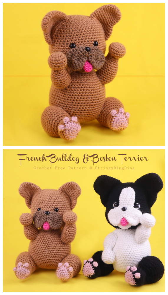 Amigurumi Bulldog Crochet Padrão Grátis - Cão de Crochê #Amigurumi;  Padrões Livres