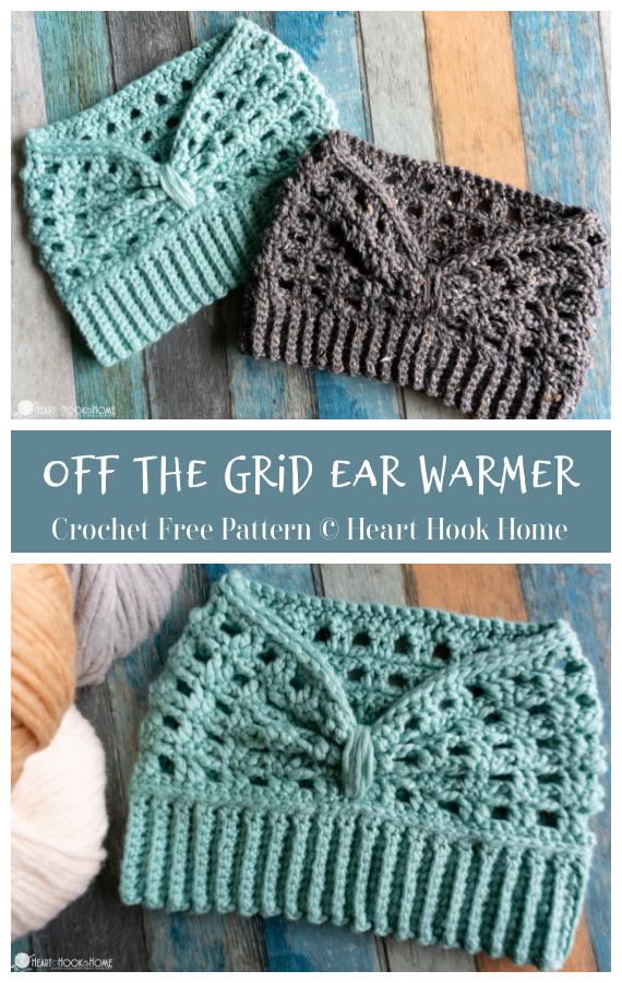 Padrão livre de crochê para aquecedores de orelhas de renda - padrões de crochê para aquecedores de orelhas