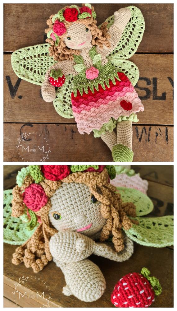 Melly Teddy Ragdoll Blossom Fairy Crochet Padrão Grátis - Crochê # Bonecos;  #Amigurumi;  Padrões Livres