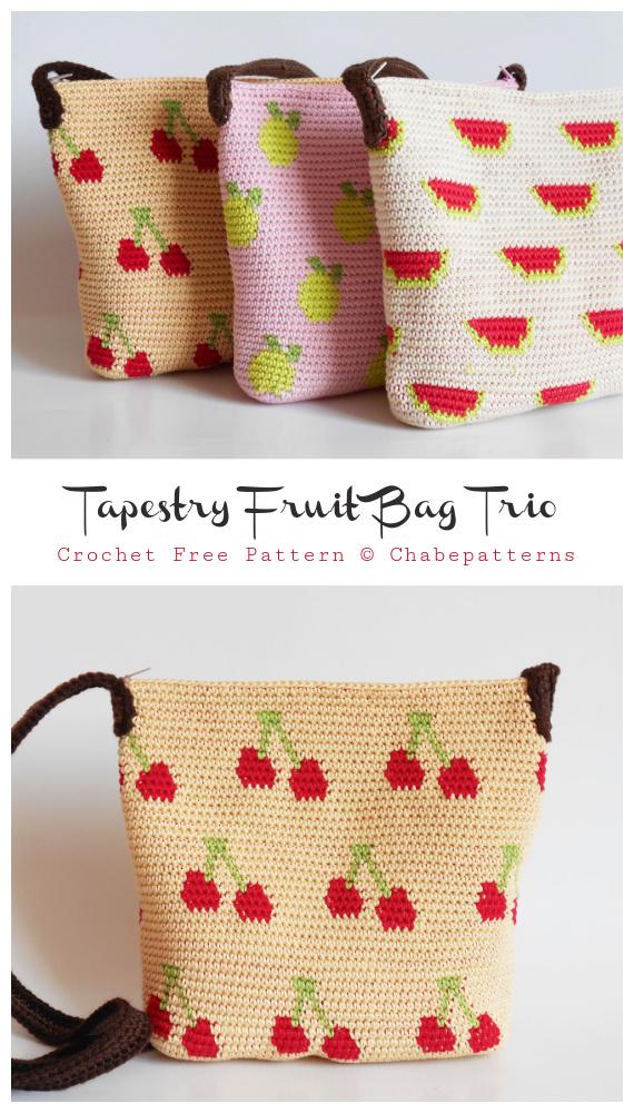 Gobelin-Frucht-Tasche häkeln freies Muster - Tote #Bag;  Kostenlose #Häkeln;  Muster